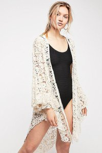 Free People Tie Front Closure Flared Sleeves Allover Lace Long Back Plunging Neckline Top Ivory