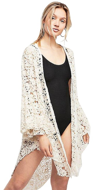 Free People Tie Front Closure Flared Sleeves Allover Lace Long Back Plunging Neckline Top Ivory Image 1