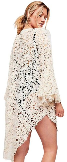 Free People Tie Front Closure Flared Sleeves Allover Lace Long Back Plunging Neckline Top Ivory Image 3