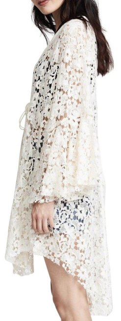 Free People Tie Front Closure Flared Sleeves Allover Lace Long Back Plunging Neckline Top Ivory Image 5