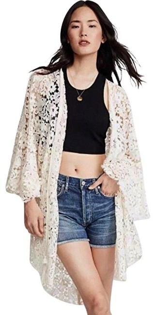 Free People Tie Front Closure Flared Sleeves Allover Lace Long Back Plunging Neckline Top Ivory Image 6