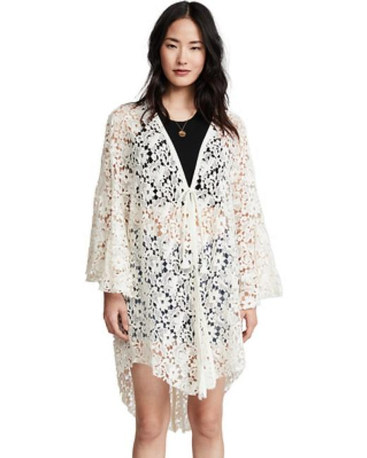 Free People Tie Front Closure Flared Sleeves Allover Lace Long Back Plunging Neckline Top Ivory Image 7