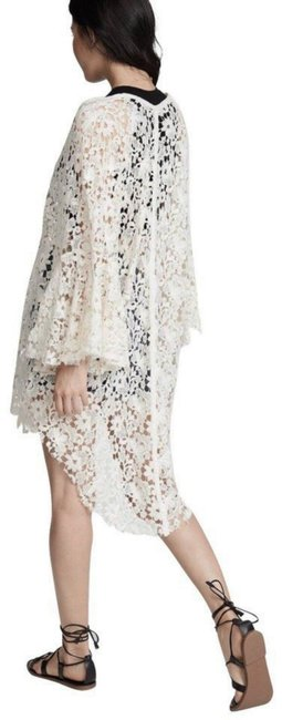 Free People Tie Front Closure Flared Sleeves Allover Lace Long Back Plunging Neckline Top Ivory Image 8