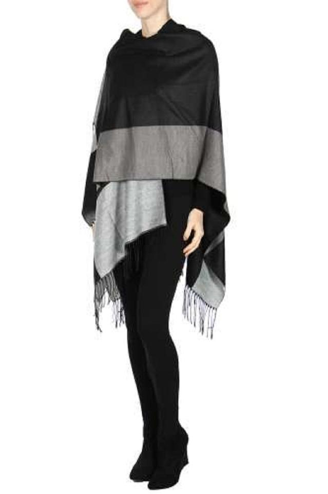 65b829c00 Black New Floral Wrap Shawl Ruana with Button Poncho/Cape Size OS ...