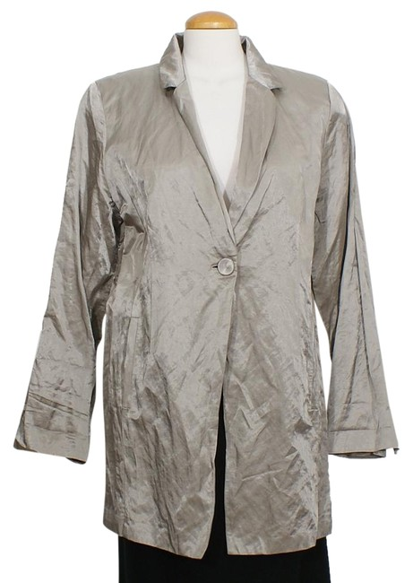Preload https://img-static.tradesy.com/item/24430402/eileen-fisher-stone-gray-steel-satin-cotton-blend-long-jacket-l-blazer-size-14-l-0-1-650-650.jpg