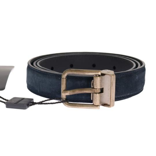 Dolce&Gabbana Blue D11039-5 Leather Gold Brushed Buckle Belt (90 Cm / 36 Inches) Groomsman Gift Image 0