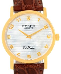 Rolex Rolex Cellini Classic Yellow Gold Mother of Pearl Brown Strap 5115