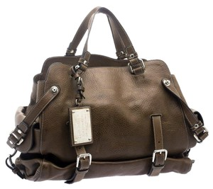Dolce&Gabbana Leather Fabric Buckle Tote in Brown