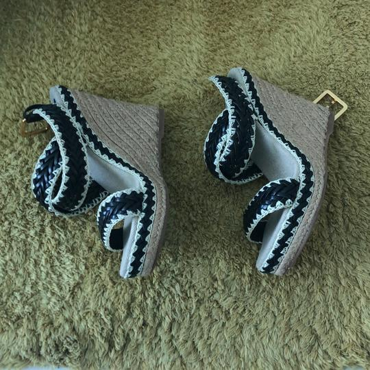 Tory Burch black and natural Wedges Image 1