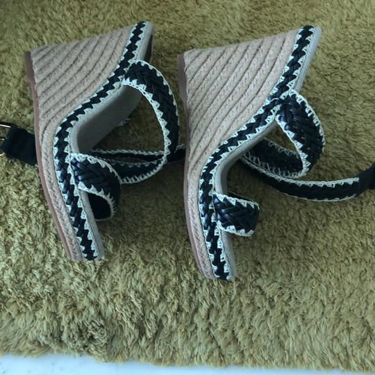 Tory Burch black and natural Wedges Image 3