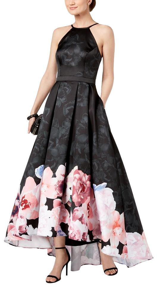 4325f4a8 Xscape Black Multi Floral-print High-low Gown Long Formal Dress Size ...