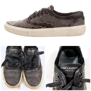 Saint Laurent Studded Leather Distressed Festival Boho Black Silver Gold Athletic