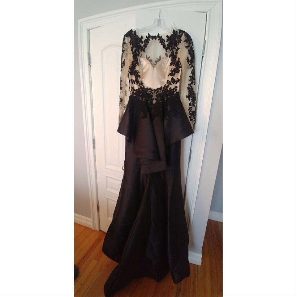 cba604b2ced CLARISSE Black Sleeve Peplum Lace Gown Long Formal Dress Size 6 (S ...
