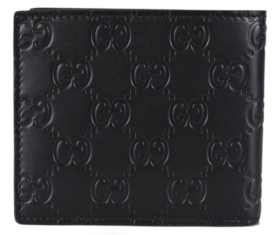 33b1eab5dce9 Gucci NEW Gucci Men's Black Leather GG Guccissima GG Plaque Bifold Wallet  Image 5. 123456