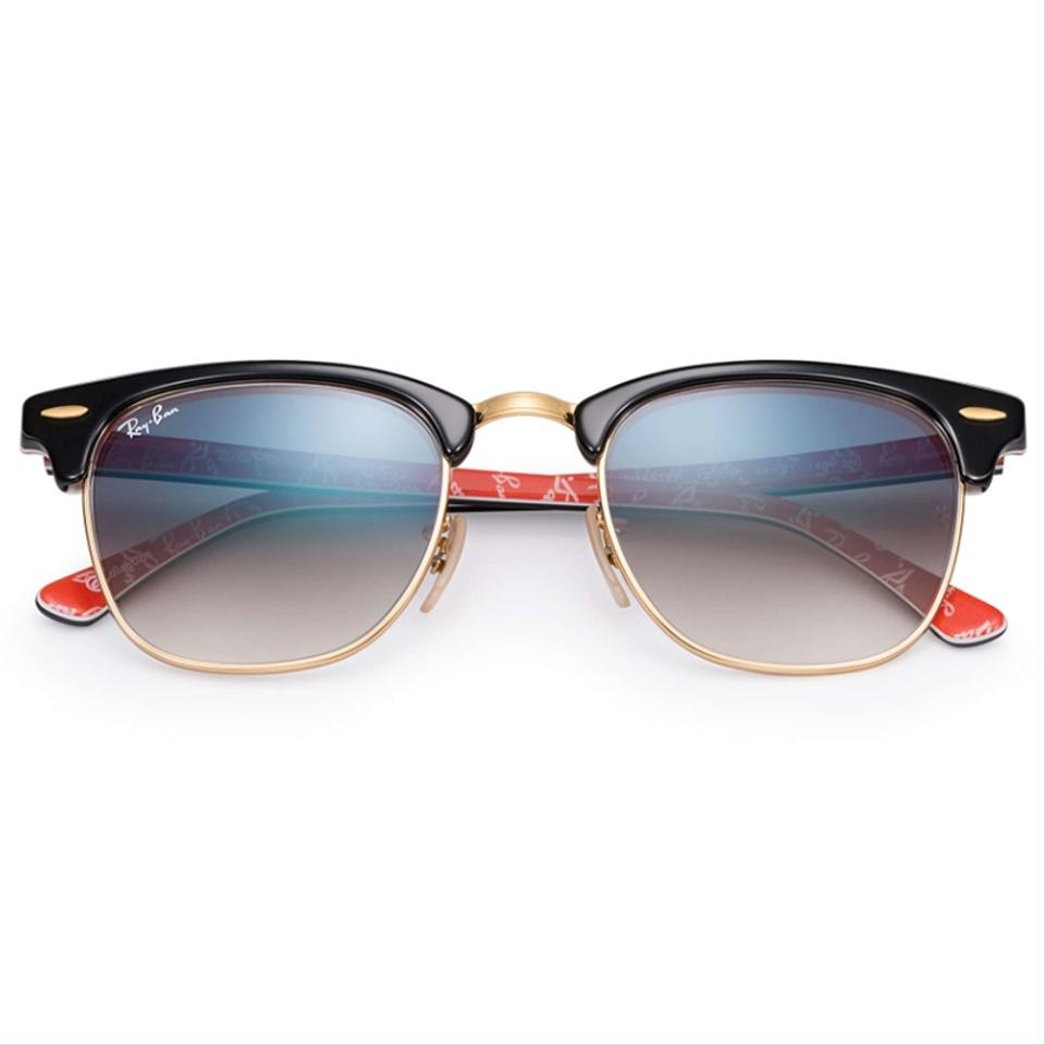 6c3b5a810569 ... sunglasses 65f8c 80d87; sale ray ban clubmaster collection black gold  red frame blue gradient lens rb3016 12053f square style