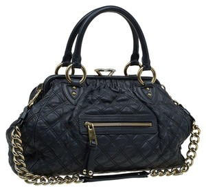 Marc Jacobs Leather Quilted Chain Satchel in Black