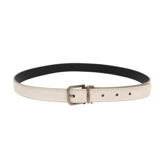 Dolce&Gabbana White / Gold D11024-4 Leather Buckle Belt (90 Cm / 36 Inches) Groomsman Gift Image 2