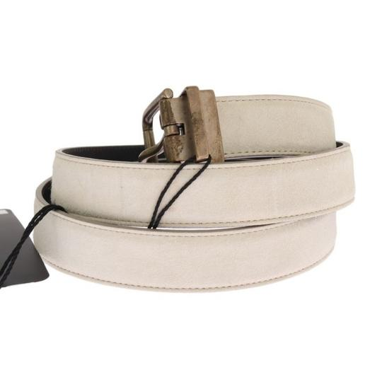Dolce&Gabbana White / Gold D11024-3 Leather Buckle Belt (110 Cm / 44 Inches) Groomsman Gift Image 1