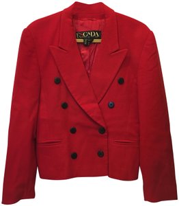 Escada Wool Cashmere Blend Double-breasted Black Buttons Size 8 M Medium Red Blazer