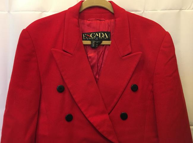 Escada Wool Cashmere Blend Double-breasted Black Buttons Size 8 M Medium Red Blazer Image 1