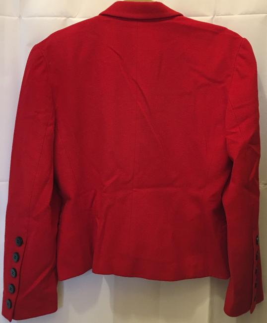 Escada Wool Cashmere Blend Double-breasted Black Buttons Size 8 M Medium Red Blazer Image 4