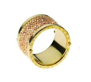 Michael Kors Michael Kors Gold Pave Thick Barrel Ring Paave Size 8