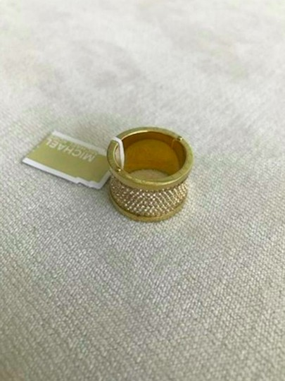 Michael Kors Michael Kors Gold Pave Thick Barrel Ring Paave Size 8 Image 1