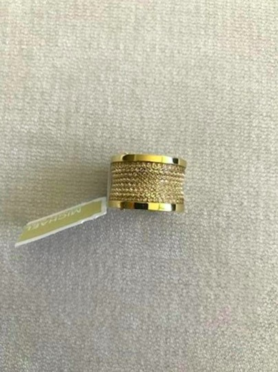 Michael Kors Michael Kors Gold Pave Thick Barrel Ring Paave Size 8 Image 2