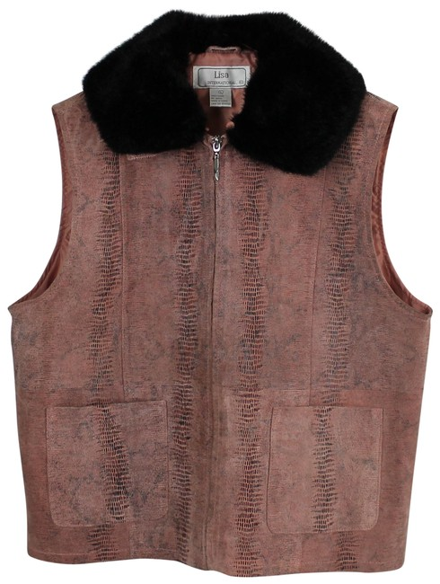 Preload https://img-static.tradesy.com/item/24430877/lisa-international-salmon-pink-suede-snakeskin-print-detachable-fur-collar-vest-size-12-l-0-1-650-650.jpg