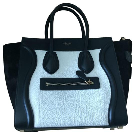 Preload https://img-static.tradesy.com/item/24430888/celine-black-and-white-leather-suede-satchel-0-1-540-540.jpg