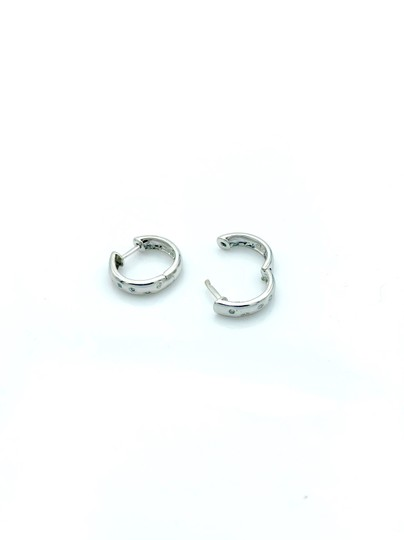 other Diamond white gold mini hoop earrings Image 1