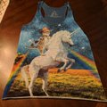 Bear Dance Top A heather blue with multi-colored design Image 0