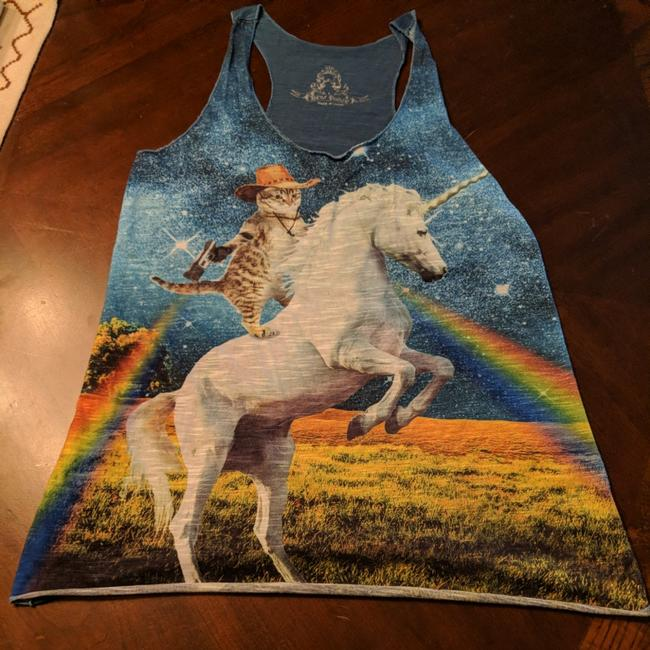 Preload https://img-static.tradesy.com/item/24431089/a-heather-blue-with-multi-colored-design-kitty-cat-riding-unicorn-tank-topcami-size-4-s-0-0-650-650.jpg
