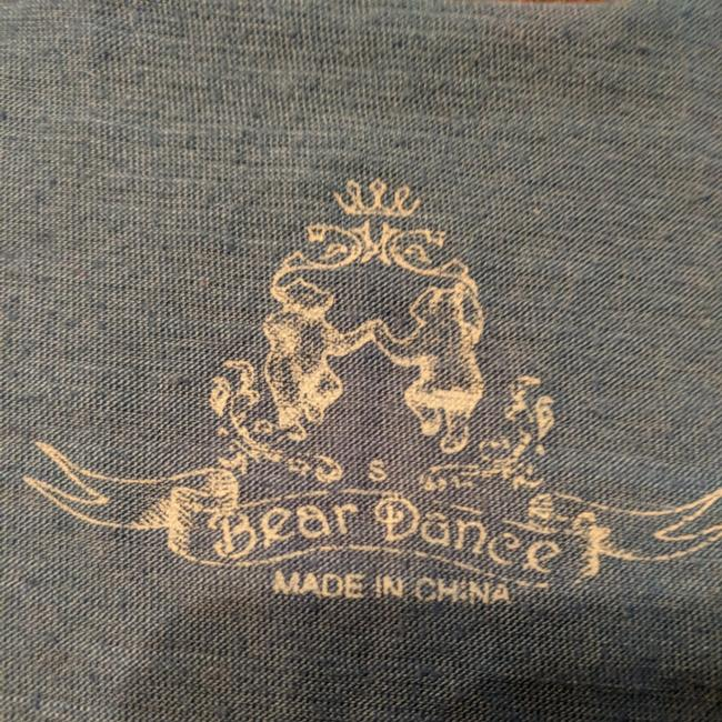 Bear Dance Top A heather blue with multi-colored design Image 4