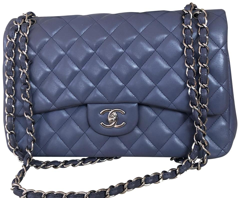 99f007c36bdd Chanel Jumbo Flap Silver Hw Lavender/ Blue Lambskin Leather Shoulder Bag