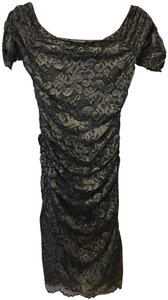 Badgley Mischka Silver Navy Off Shoulder Lace New With Tags. Dress