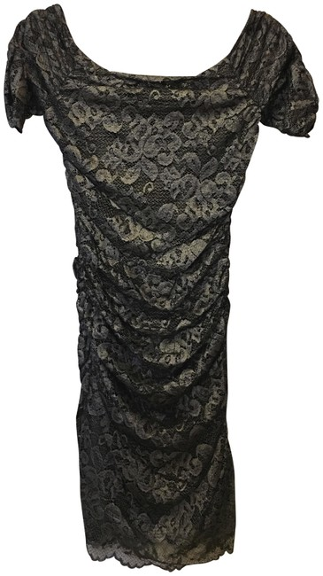 Badgley Mischka Silver Navy Off Shoulder Lace New With Tags. Dress Image 0