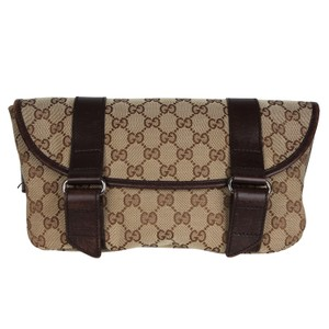 Gucci Monogram Canvas Vintage Front Flap Brown Travel Bag