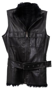 Elie Tahari Cuir Leather Fur Interior Vest