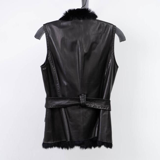 Elie Tahari Cuir Leather Fur Interior Vest Image 2