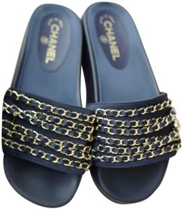 Chanel Casual Flat Chain NAVY Sandals