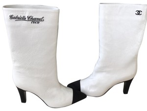 Chanel White and Black Boots