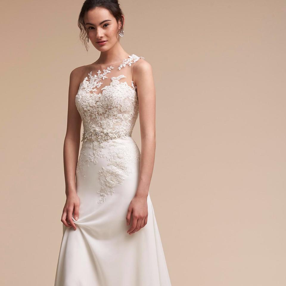 ff168c8e1cb Pronovias Off White Polyester Illusion Neckline Romantic Gown Feminine Wedding  Dress