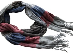 N/a Red and Blue Fall/Winter Scarf
