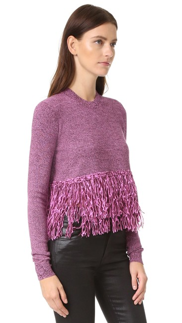 Preload https://img-static.tradesy.com/item/24431456/mcq-by-alexander-mcqueen-fringe-crew-neck-small-burgundyelectric-pink-sweater-0-0-650-650.jpg