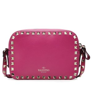 598912404891 Valentino Rockstud Small Raspberry Camera Shoulder Pink Leather Cross Body  Bag