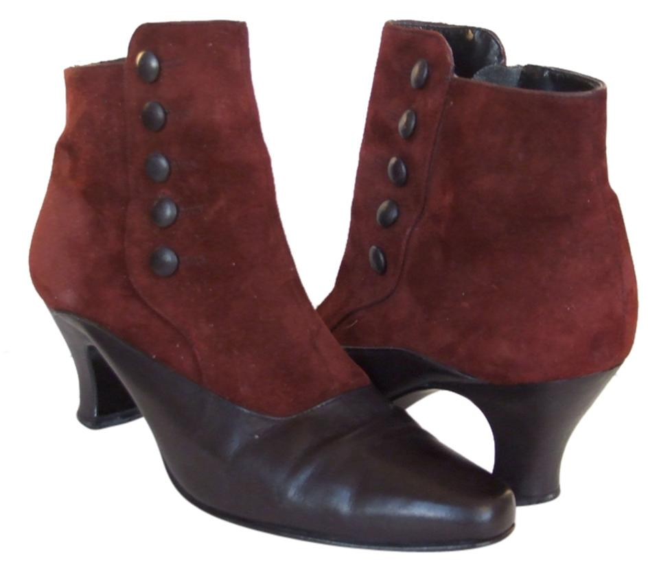 Enzo Angiolini Red Brazil Made Suede Low Leather Burgundy Black Ankle Low Suede Heel Vintage Boots/Booties c598e2