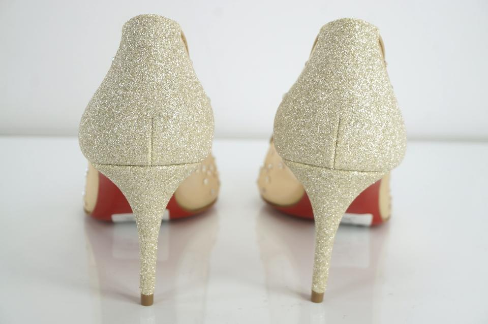 f839cbeadf0 Christian Louboutin Beige Follies Strass 70mm Embellished Glitter Crystal  Mesh Pointed Toe Pumps Size EU 38 (Approx. US 8) Regular (M, B) 28% off ...