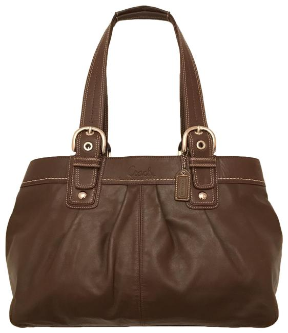 Item - Soho Lg Pleated Business Shopper F13733 Brown Silver Leather Satchel