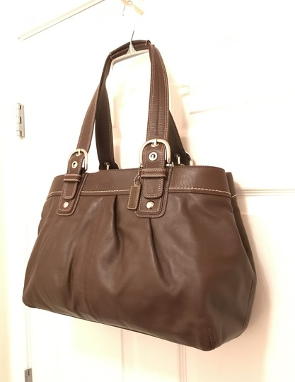 coach Purse Handbag Tote Shoulder Weekend/Travel Satchel in Brown Silver Image 1